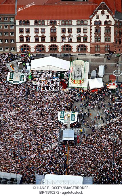 Aerial picture, public screening, Football World Cup 2010, the match Germany vs Australia 4-0, Friedensplatz square, Dortmund, Ruhr district