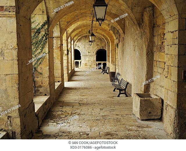 cloister at the Chateau de Fumel, Fumel, Lot-et-Garonne Department, Nouvelle Aquitaine, France