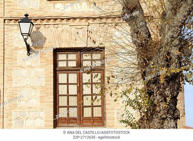 Tembleque village Toledo in La Mancha, Spain. The old school