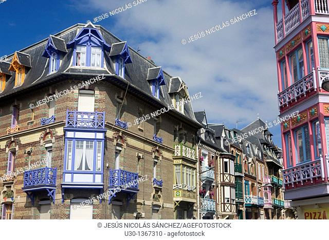 Colourful houses of the toursit town of Mers Les Bains, in Somme department, Picardie region, Abbeville district  France