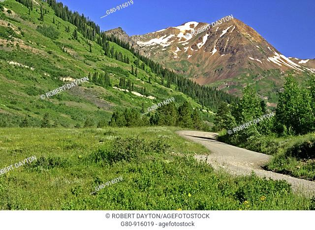 A road winds its way through the Rocky Mountains in Colorado