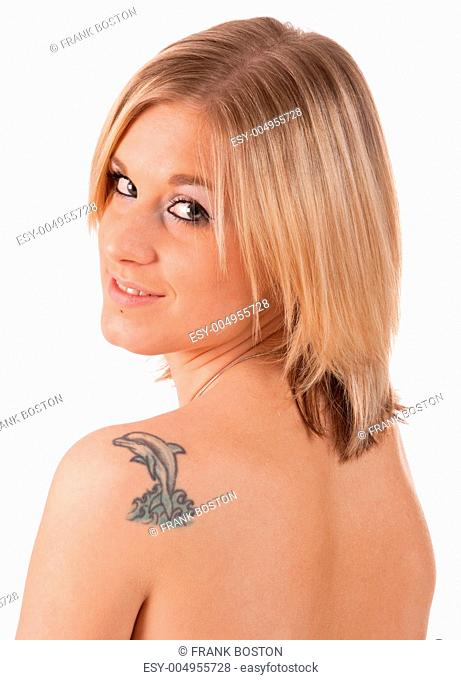 Blonde girl with tattoo