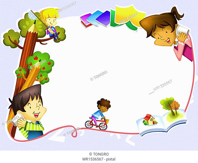 kids doing different activities around a copy space