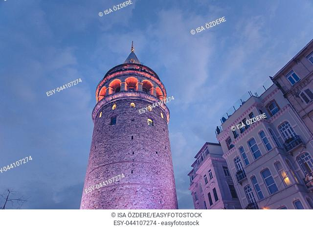View of old Galata Tower,medieval landmark architecture in Istanbul, Turkey. ISTANBUL/TURKEY- MARCH 11, 2017