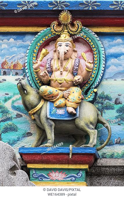 Statue of Hindu Elephant God Ganesha on the Temple of Miss Mariamman India in Ho Chi Minh City Vietnam