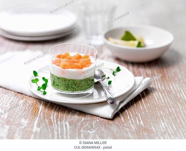 Asian style pea and wasabi salmon starter