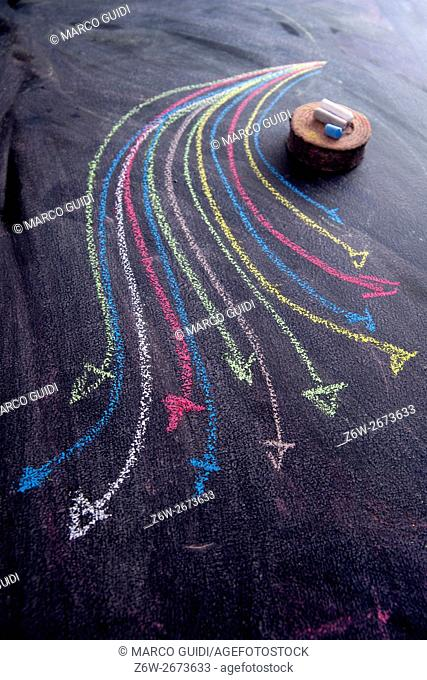 Curved colored arrows drawn with chalk on blackboard