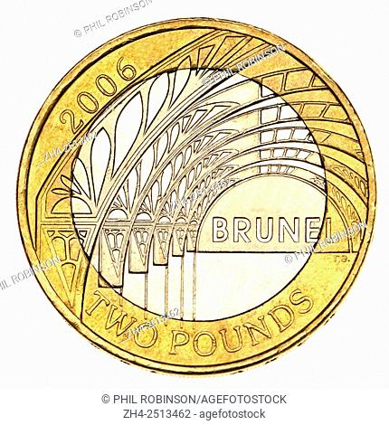 British commemorative £2 coin (2006) celebrating the 200th Anniversary of the birth of Isambard Kingdom Brunel. Shows part of the roof of Paddington Station