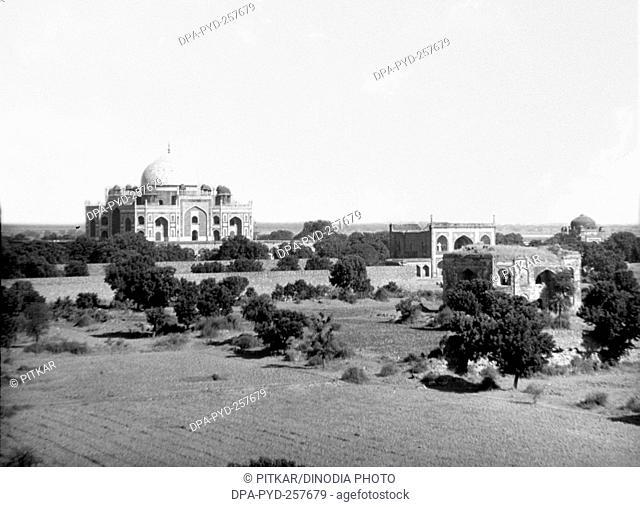 old vintage lantern slide of humayun tomb, sikandra, Agra, Delhi, India, Asia