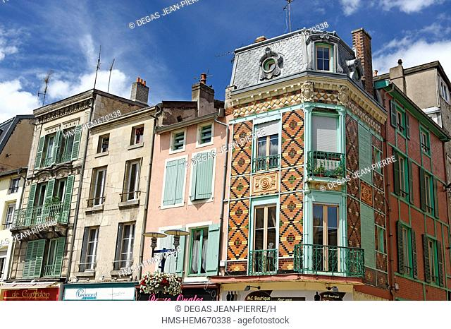 France, Meuse, Verdun, Ville Basse district, town house facade with tiled walls in front of the Opera