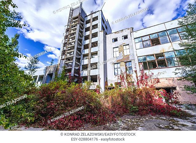 Main building of abandoned Jupiter Factory in Pripyat ghost town of Chernobyl Nuclear Power Plant Zone of Alienation in Ukraine