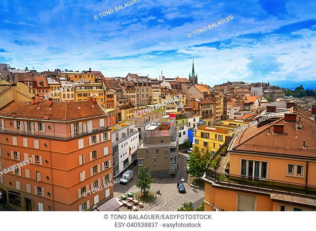 Lausanne city in Switzerland Swiss aerial