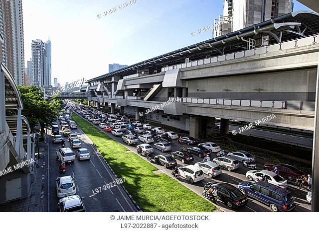 Morning traffic jam, below Thon Buri BTS train station, Bangkok Thailand