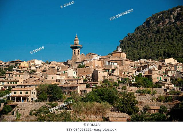 Beautiful view of the small town Valldemossa situated in picturesque mountains on Mallorca island, Spain
