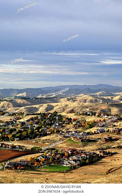 USA, Idaho, Boise, Neighborhood in the Foothills from atop Table Rock Butte