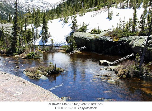 Glacier Creek flowing into Mills Lake in Rocky Mountain National Park, Colorado, USA