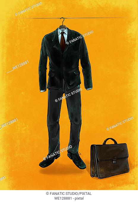 Illustrative image of business suit hanging on rope representing suspension