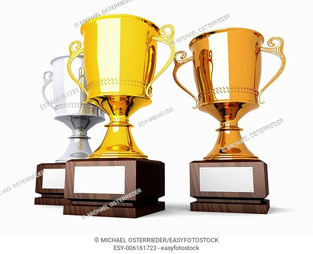 Three trophies with a blank plate for custom text. 3D rendered Illustration