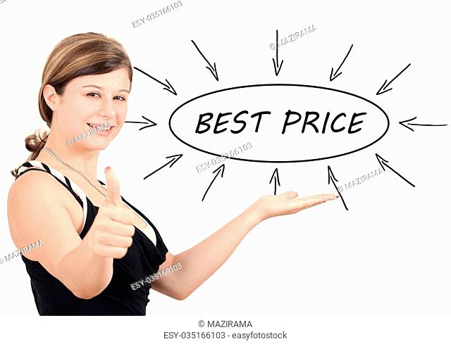 Best Price - young businesswoman introduce process information concept. Isolated on white