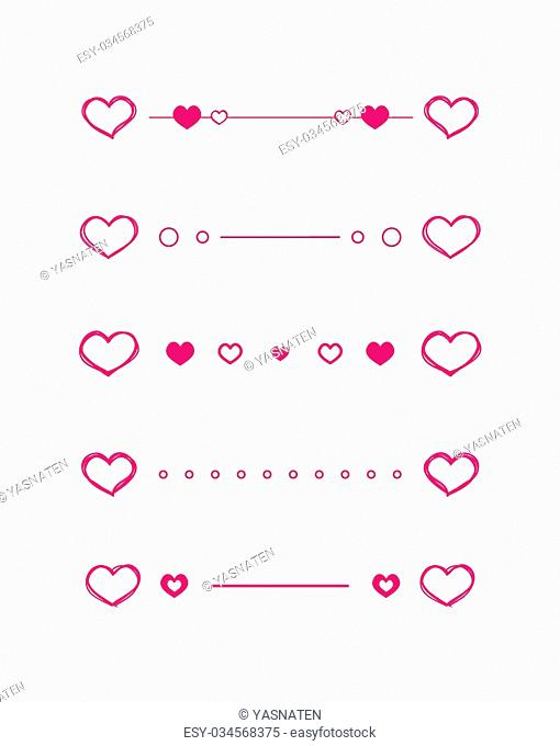 Heart dividers scribble vector borders hand-drawn set