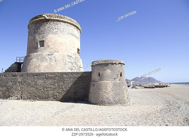 Defensive tower at Cabo de Gata St Miguel beach in Almeria Andalusia, Spain