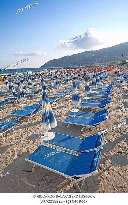 Italy, Liguria, Andora, Beach, Sunshades and Beach Chairs