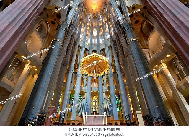 Spain, Catalonia, Barcelona, Sagrada Familia Cathedral listed as World Heritage by UNESCO