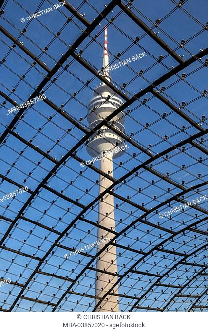 Olympic tower with roof of the Olympic hall in Olympic Park, Munich, Upper Bavaria, Bavaria, Germany