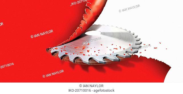 Circular saw cutting red tape