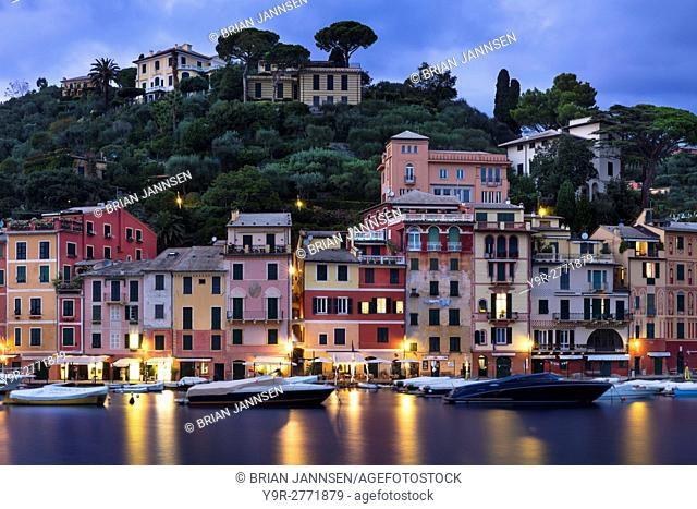Twilight over harbor town of Portofino, Liguria, Italy