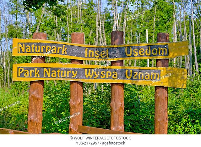 Nature Park Sign at the Polish/German Border, Usedom, Germany
