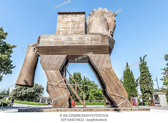 Famous Trojan horse in ancient city of Troy. Wooden Trojan horse in ancient city Troy. TURKEY, Canakkale,18 August 2017