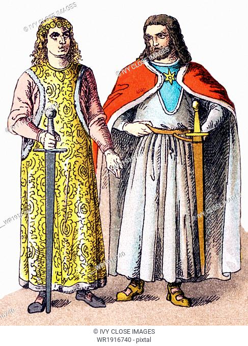 The figures here are German nobles in A.D. 1100. The Illustration dates to 1882