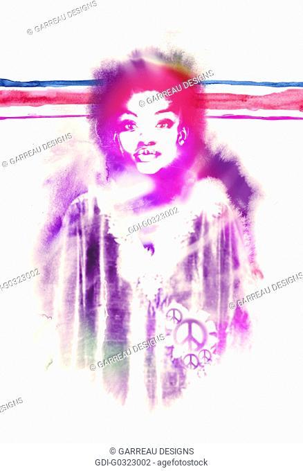 Hippie African woman design