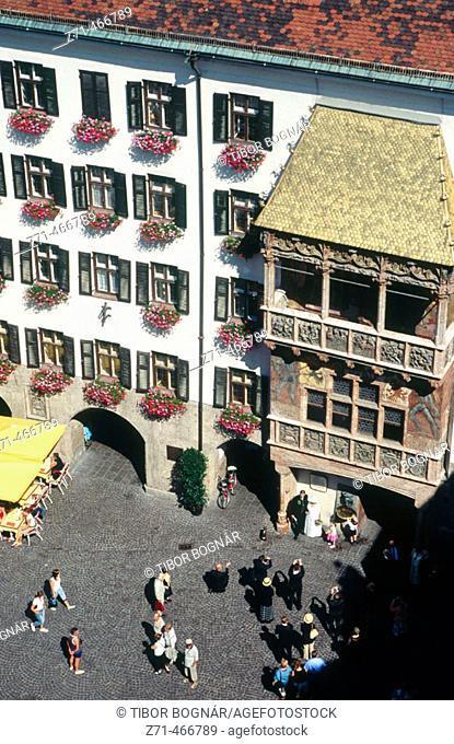 Little golden roof, aerial view. Innsbruck. Tyrol. Austria