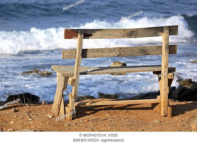 bench at the beach of Milatos, with view on the Mediterranean Sea, Greece, Crete, Milatos