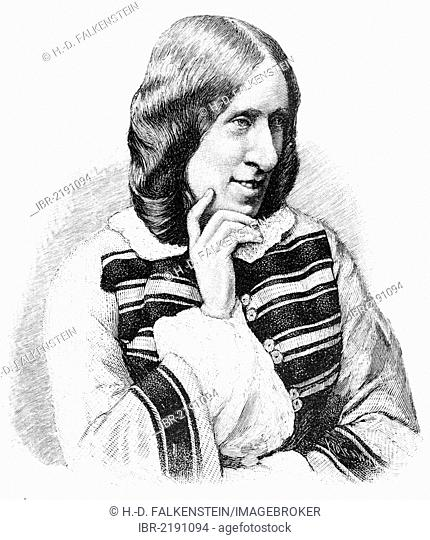 Historical engraving, 19th century, portrait of George Eliot or Mary Anne Evans, 1819 - 1880, English writer, translator and journalist
