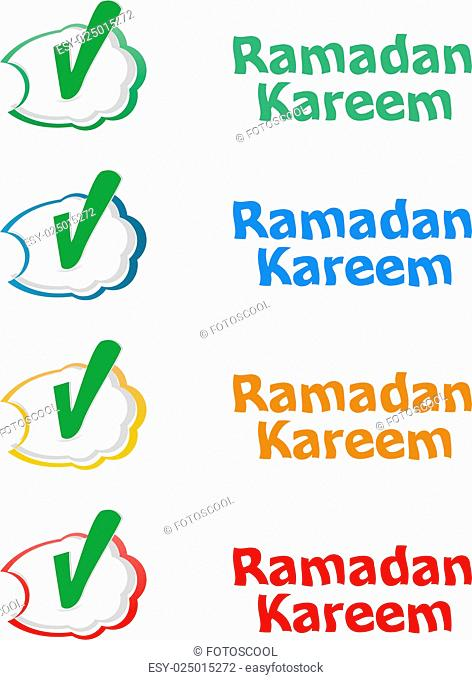 Arabic Islamic calligraphy of text Ramadan Kareem stickers label tag set