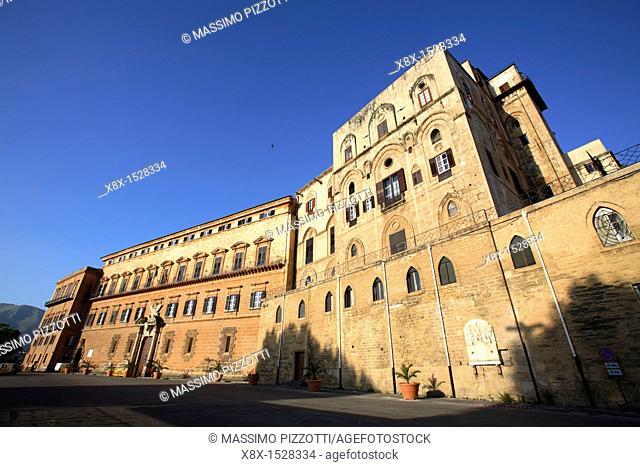 The Renaissance façade of the Norman Palace, Palermo, Italy