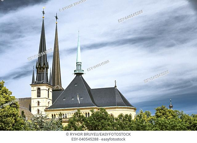 Luxembourg. Notre-dame Cathedral. Grand Duchy Of Luxembourg. It Was Originally A Jesuit Church, And Its Cornerstone Was Laid In 1613