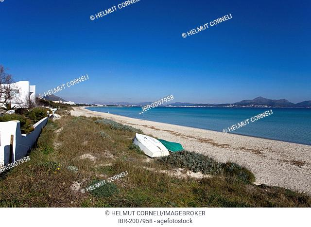 Deserted beach of Can Picafort, Alcudia Bay, Majorca, Balearic Islands, Spain, Mediterranean Sea, Europe