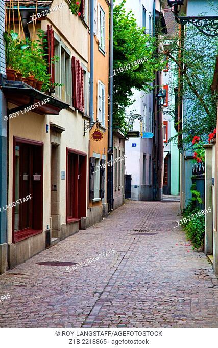 A street scene along Predigergasse in Zurich, Switzerland