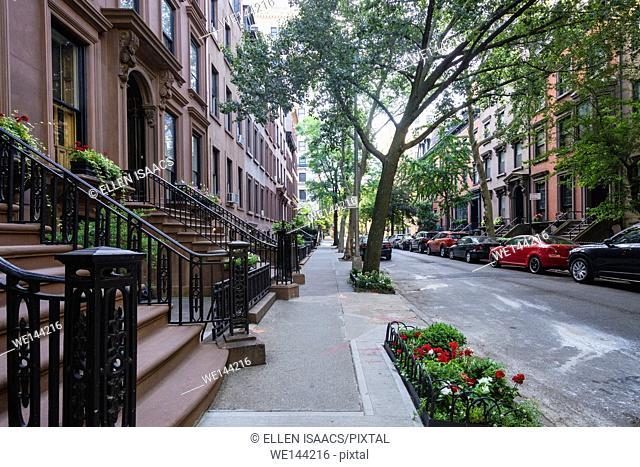Attractive brownstone residential buildings on Remsen Street in Brooklyn Heights neighborhood of New York