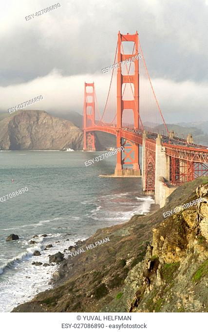 The Golden Gate Bridge and Coastal Views filled with foggy clouds