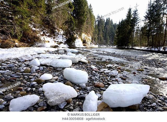 Emme, river, Interrupting, Ice, Floe, Clods, Floes, Brook bed, Riverbed, Wood, Gravel, Gravel bank