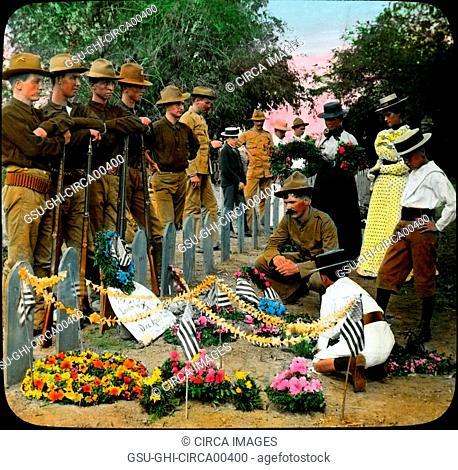 Children Decorating Graves of American Soldiers, Memorial Day, Philippines, Magic Lantern Slide, circa 1910