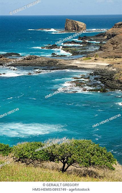 France, French Polynesia, Marquesas islands, Ua Uka island, rugged coastline, rocks and waves between the bay of Hane and Hokatu