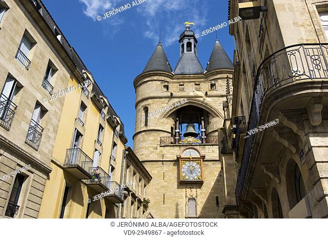 Grosse Cloche bell tower former St Eloi town gate, Bordeaux. Aquitaine Region, Gironde Department. France Europe
