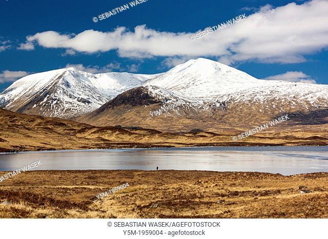 Lochan na h-Achlaise on Rannoch Moor, Highland, Scotland, United Kingdom, Europe