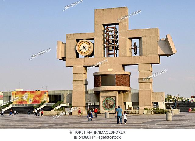 Bell tower with astronomical clock, Atrio de America, Mexico City, Federal District, Mexico